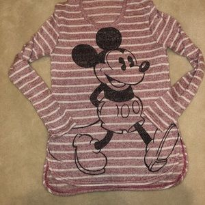 Juniors Striped Mickey Mouse Sweater